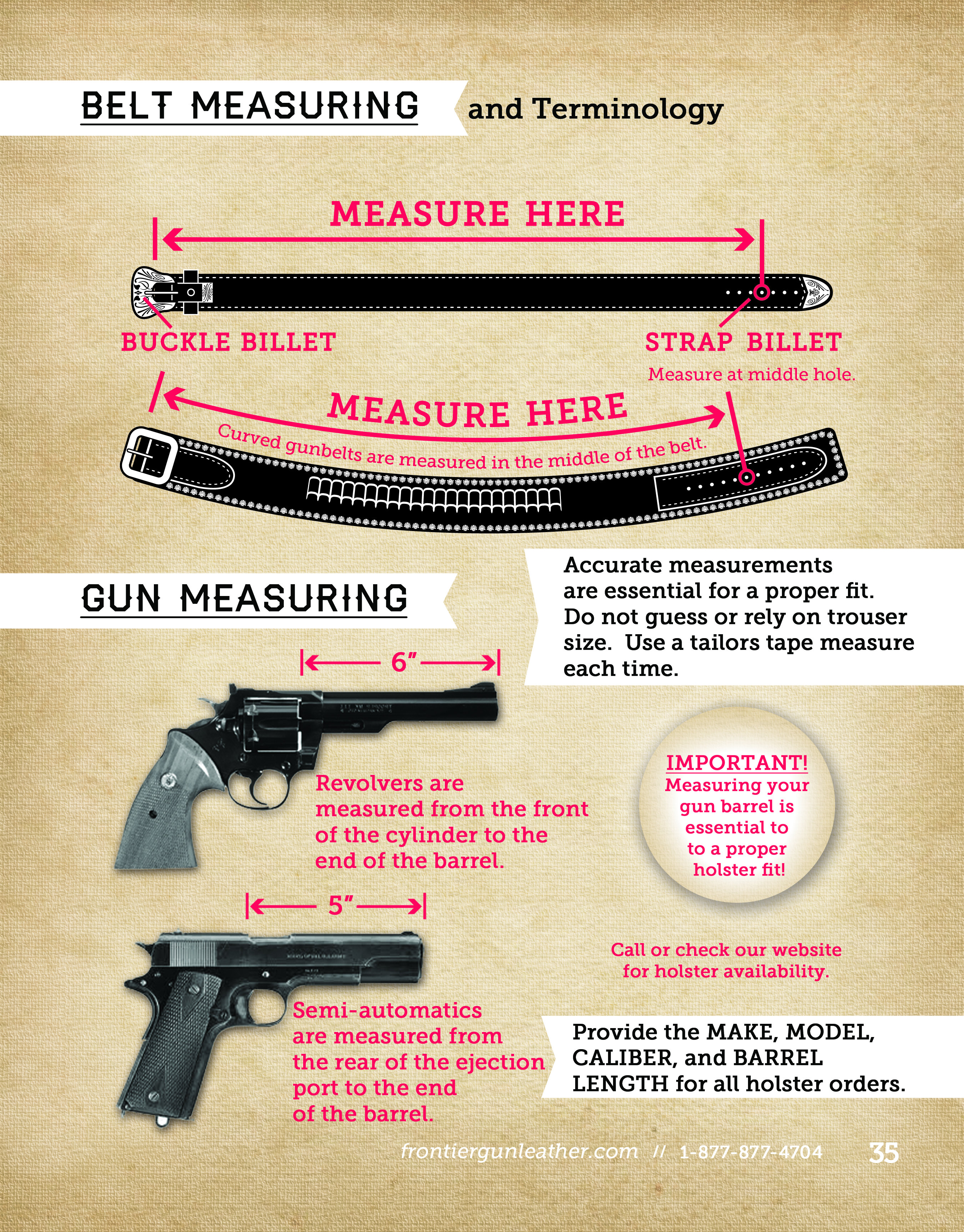 Belt and gun measuring